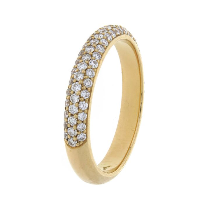Eternity ring with three rows of diamond pave in yellow gold 18k